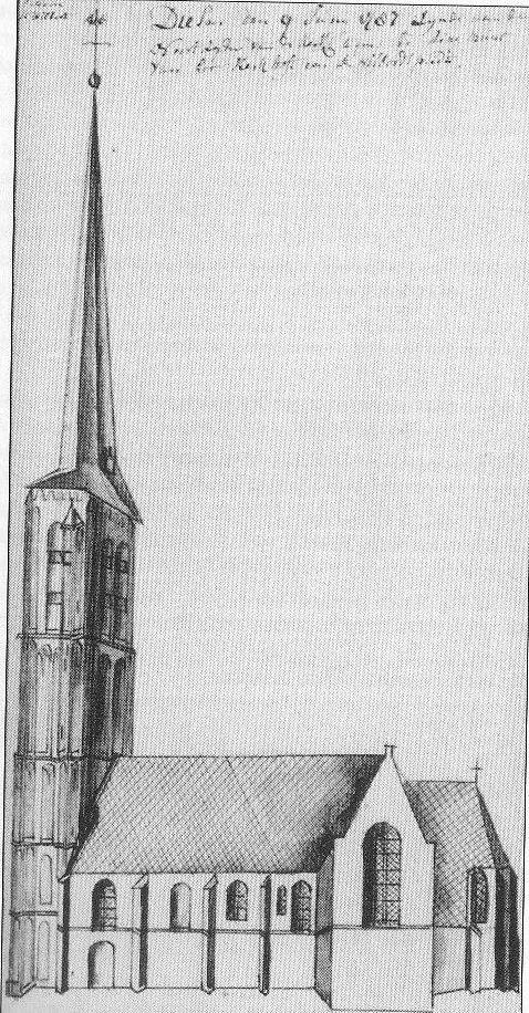 Kerk en toren Diessen 18de eeuw